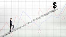 Бизнесмен идя вверх на конкретную лестницу на красной и голубой предпосылке диаграммы к большой черноте USD подписывает на верхне Стоковое фото RF