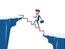 Бизнесмен идя на лестницу для того чтобы пересечь через зазор между холмом Шаг лестницы к успеху Деловой риск и концепция успеха иллюстрация вектора