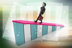 Бизнесмен идя на растущую стрелку Стоковое фото RF