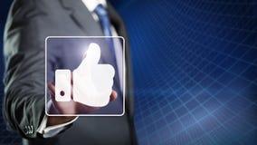 Бизнесмен касаясь как символ стоковое изображение