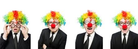 Бизнесмен клоуна изолированный на белизне стоковые фотографии rf
