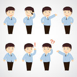 Бизнесмен. комплект работника офиса шаржа в различных представлениях Стоковое фото RF