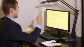 Бизнесмен контролирует изменения в план-графике на валютной бирже, смотря монитор компьютера сток-видео