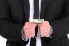 бизнесмен коррумпировал стоковое фото
