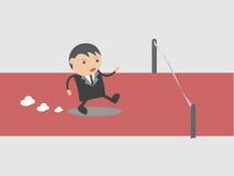 Бизнесмен, который побежали к успешной Концепция конспекта персонажа из мультфильма иллюстрации вектора Doodle Стоковое Изображение
