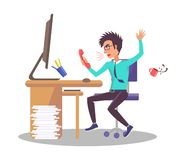 Бизнесмен кричит на иллюстрации вектора телефона иллюстрация штока