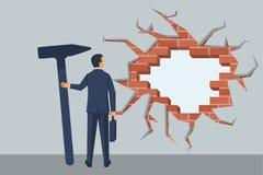 Бизнесмен ломает стену иллюстрация вектора