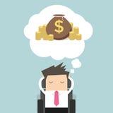 Бизнесмен мечтая о деньгах иллюстрация вектора
