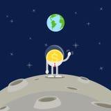 Бизнесмен монетки на луне Стоковые Фото