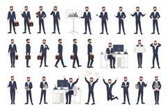 Бизнесмен, мужской работник офиса или клерк с бородой одели в умном костюме в различных позициях, настроениях, ситуациях иллюстрация штока