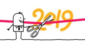 Бизнесмен мультфильма торжественно вводя в должность 2019 Новых Годов иллюстрация штока