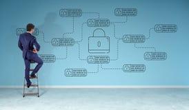 Бизнесмен наблюдая тонкую линию интерфейс безопасностью сети Иллюстрация вектора