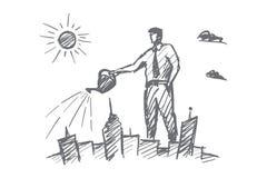 Бизнесмен нарисованный рукой моча его город Стоковое Фото