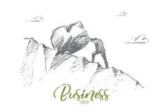 Бизнесмен нарисованный рукой свертывая большой камень вверх Стоковые Изображения RF