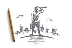 Бизнесмен нарисованный рукой смотря через spyglass Стоковое Изображение
