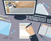 Бизнесмен настольного компьютера в офисе с местом для вашего текста Плоская предпосылка вектор Стоковая Фотография