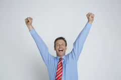 Бизнесмен наслаждаясь победой стоковая фотография rf