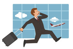 Бизнесмен на авиапорте иллюстрация вектора