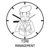 Бизнесмен на предпосылке часов Контроль времени вектор иллюстрация вектора