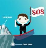 Бизнесмен на тонуть шлюпке вступает в противоречия айсберг Стоковые Фото