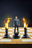 Бизнесмен на шахматной доске Стоковое фото RF