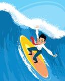 Бизнесмен на surfboard Стоковая Фотография