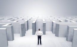 Бизнесмен не может решить который вход он выбрал вне лабиринта стоковые фото