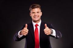 Бизнесмен оба большого пальца руки вверх Стоковая Фотография RF