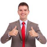 Бизнесмен оба большого пальца руки вверх Стоковое Изображение RF