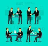 Бизнесмен 2 обсуждает и подписывает бумагу shake иллюстрация вектора