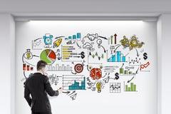 Бизнесмен около стены с начинает вверх эскиз Стоковое Изображение