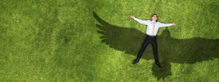 Бизнесмен ослабляя на траве стоковые фото