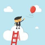 Бизнесмен достигает вне для воздушного шара бесплатная иллюстрация