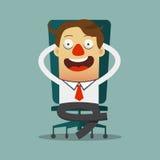 Бизнесмен ослабляя на его стуле в плоском дизайне, персонаж из мультфильма Стоковые Изображения RF
