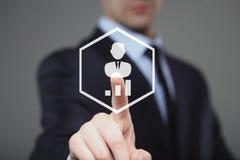 Бизнесмен отжимает знак доллара цифрового интерфейса Стоковая Фотография RF