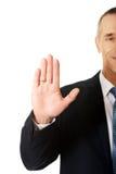 Бизнесмен отжимая абстрактный экран Стоковые Фотографии RF