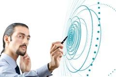 Бизнесмен отжимая виртуальные кнопки в футуристической концепции Стоковое Изображение RF