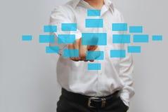 Бизнесмен отжимая высокотехнологичную кнопку Стоковые Фотографии RF