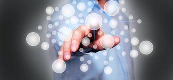 Бизнесмен отжимая кнопку Стоковое Изображение RF
