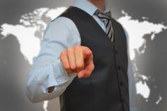 Бизнесмен отжимая мнимую кнопку Стоковая Фотография