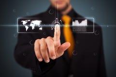 Бизнесмен отжимая самомоднейший тип дела кнопок Стоковые Фотографии RF