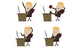 Бизнесмен перед компьютером Стоковая Фотография RF