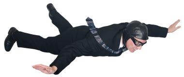 Бизнесмен, пилот, муха авиатора через изолированное небо, Стоковые Фотографии RF