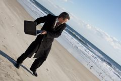 бизнесмен пляжа Стоковые Фотографии RF