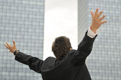 Бизнесмен победителя screaming от утехи Стоковое Фото