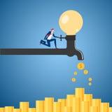 Бизнесмен поворачивая дальше процесс идеи электрической лампочки faucet для того чтобы быть деньгами Концепция пассивного дохода иллюстрация штока
