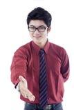 Бизнесмен поздравляет на белизне Стоковое Изображение RF