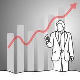 Бизнесмен показывая большой палец руки вверх с стрелкой диаграммы вверх по illustra вектора Стоковая Фотография RF