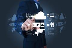 Бизнесмен показывая концепцию вычислять облака иллюстрация штока
