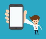 Бизнесмен показывая пустой умный экран телефона бесплатная иллюстрация